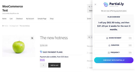 partial.ly payment plan widget in WooCommerce store